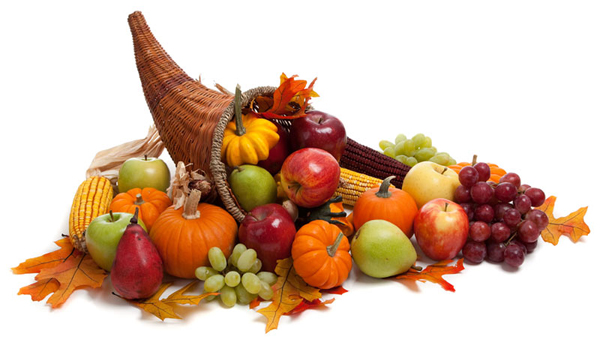 Immagine con cestino, zucche, mele, pere, e pannocchie