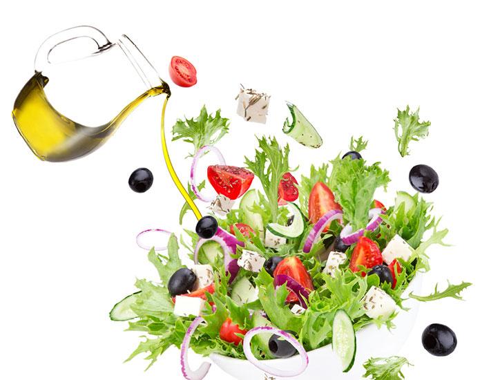 Ampolla olio e insalata